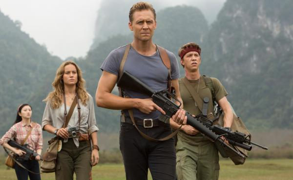 Gorilla Warfare: San (Tian Jing), Weaver (Brie Larson), Conrad (Tom Hiddleston) and Slivko (Thomas Mann) in Kong: Skull Island.