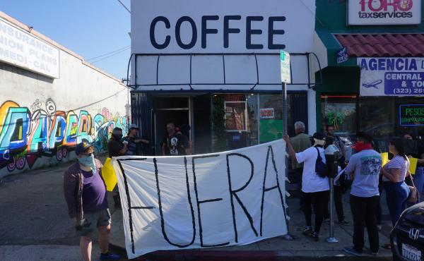 "Anti-gentrification activists staged a protest outside Weird Wave Coffee Brewers recently, chanting ""Weird Cafe has got to go."""