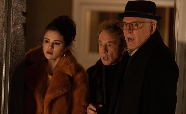 Neighbors Mabel (Selena Gomez), Oliver (Martin Short) and Charles (Steve Martin) become podcasters in Only Murders in the Building.