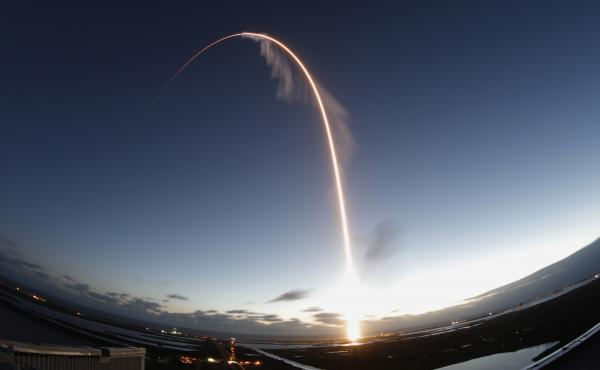 A time exposure of the United Launch Alliance Atlas V rocket carrying the Boeing Starliner crew capsule on an flight test to the International Space Station lifts off in Cape Canaveral, Fla., on Friday.