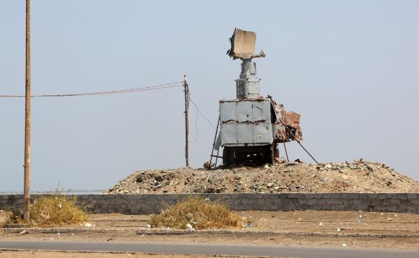 A destroyed vehicle bearing a radar antenna is pictured in the Yemeni port city of Hodeidah on Oct. 13. The U.S. military directly targeted Yemen's Houthi rebels for the first time, hitting radar sites controlled by the insurgents after U.S. warships came