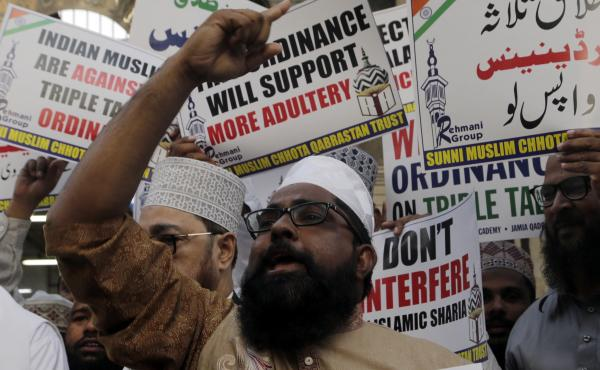 Some Muslims protested against the Indian government Wednesday after it issued an executive order to make the practice of instant divorce a punishable offence.