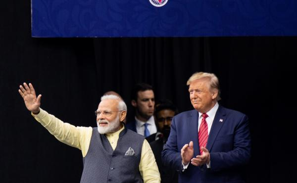 "President Trump and Indian Prime Minister Narendra Modi attend ""Howdy, Modi!"" at NRG Stadium in Houston, Texas, Sept. 22, 2019."