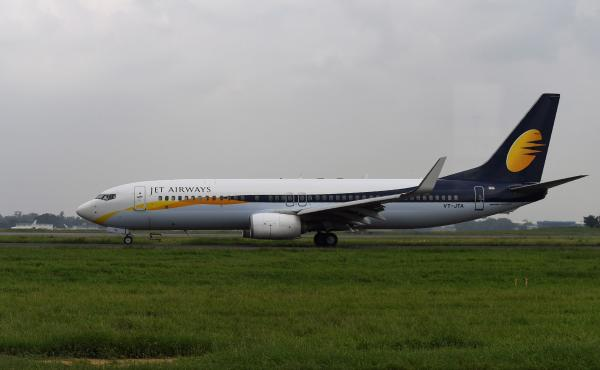 A Jet Airways plane at Indira Gandhi International Airport in New Delhi earlier this month.