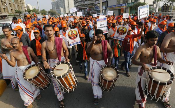 Devotees of Lord Ayyappa, the deity of the Sabarimala temple in India's Kerala state, protest a Supreme Court verdict in Ahmadabad, India, in October. The temple had barred women of menstruating age from entering the temple, but India's Supreme Court stru