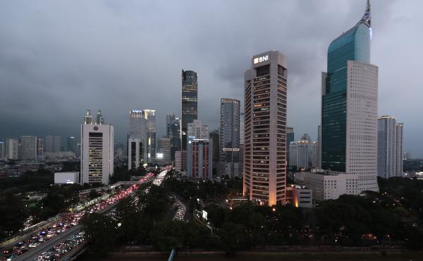 The central business district skyline is seen during the dusk on Monday in Jakarta, Indonesia.