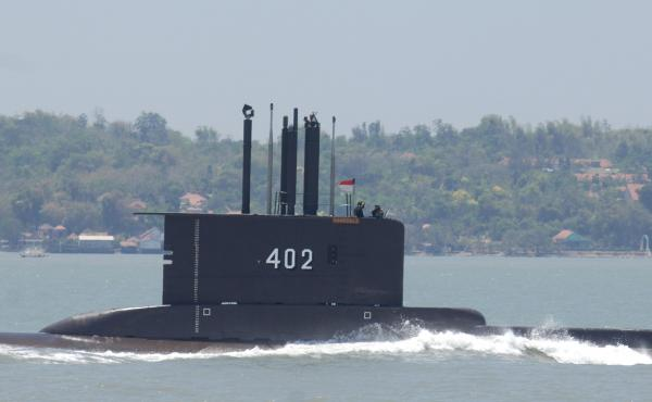 Indonesian submarine KRI Nanggala-402 is shown during preparation for an anniversary celebration of the Indonesian military in 2014 in Surabaya in East Java province.
