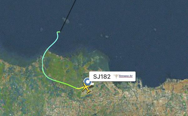 This radar image shows the flight path of Indonesian Sriwijaya Air Flight 182 before it dropped off radar on Saturday.
