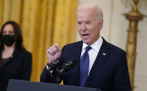 President Biden speaks about the economy at the White House Monday. The Biden administration is arguing that higher-than-expected inflation is temporary.
