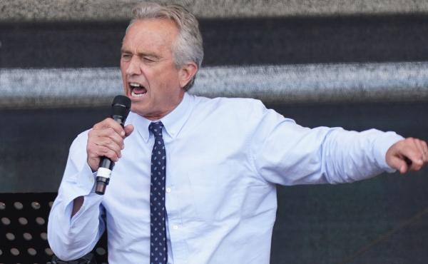 Instagram has blocked the account of Robert F. Kennedy Jr., saying he used it to spread misinformation about vaccines. He's seen here last summer, speaking to a crowd in Berlin, at an event that highlighted coronavirus skepticism and conspiracy theories.