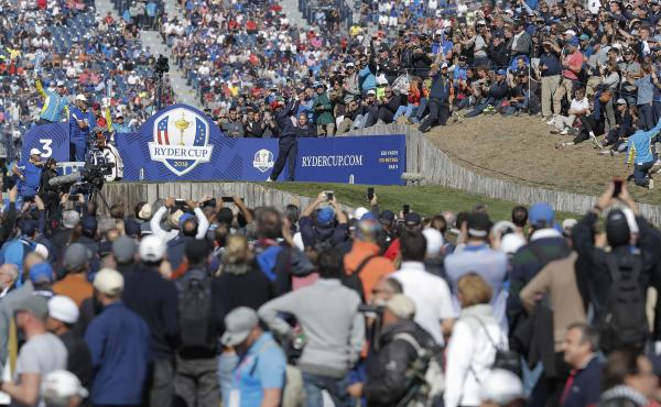 Tiger Woods tees off at the 2018 Ryder Cup in France. The biennial tournament, previously scheduled for this year, has been postponed to 2021.