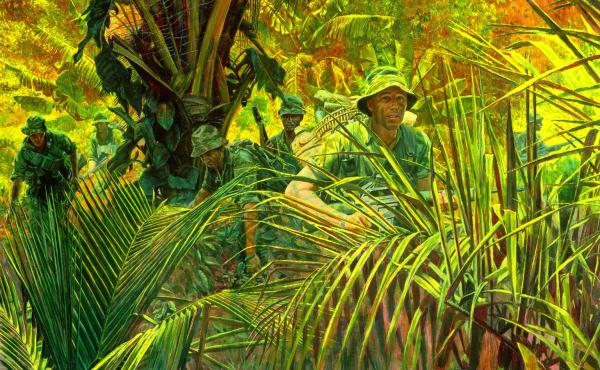 """The National Guard Bureau commissioned this painting, """"Indiana Rangers: The Army Guard in Vietnam,"""" as part of its series of paintings depicting significant moments in Guard history. It represents members of the Company D, 151st Infantry division — one"""