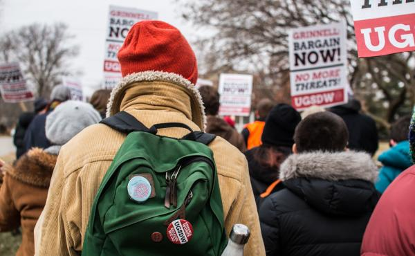 Students at Grinnell College in Iowa hold a protest on Dec. 7 in support of expanding the student-workers union.