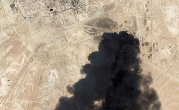 This satellite image shows smoke rising from Saudi Aramco's Abqaiq oil processing facility in Saudi Arabia.