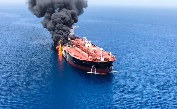 A picture obtained from  Iranian News Agency ISNA on Thursday shows fire and smoke billowing from Norwegian-owned Front Altair tanker said to have been attacked in the waters of the Gulf of Oman.