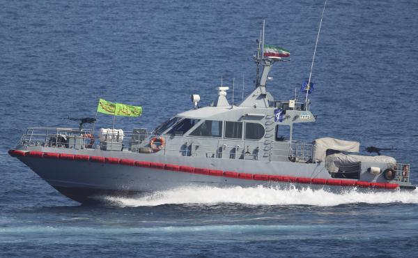 Iran says its military seized a foreign oil tanker in the Strait of Hormuz. In this 2018 photo, a boat from the Iranian Revolutionary Guard's naval force is seen in the Persian Gulf, near the strait.