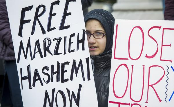 Supporters of Marzieh Hashemi, an American-born anchor for Iran's state television broadcaster, demonstrated Wednesday outside the Washington, D.C., federal courthouse where Hashemi has appeared before a grand jury.