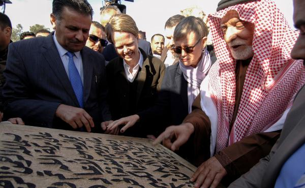 Abdullatif Al-Humaym, the head of Sunni Muslim endowments in all of Iraq, places the cornerstone for the rebuilding of the Great Mosque of Al-Nuri in Mosul. The historic mosque and its leaning minaret were destroyed in 2017 when Iraqi forces reclaimed the