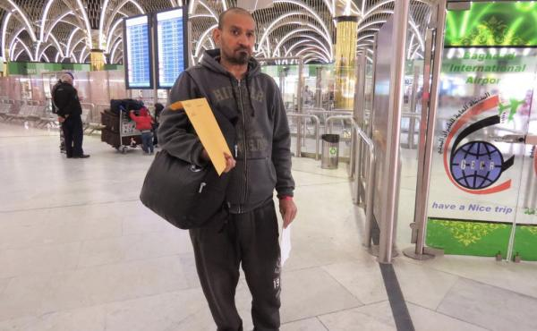 Muneer Subaihani at the airport in Baghdad on Tuesday, waiting to board the first of his flights back to the United States.