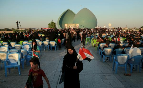 Supporters of Iraq's Al-Fateh Alliance at a rally in Baghdad on Thursday ahead of Sunday's parliamentary elections.