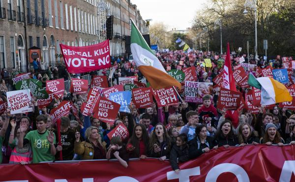 Thousands of abortion-rights opponents demonstrate in Dublin on March 10.