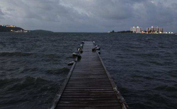 Seawater rises with the approach of Hurricane Irma, which threatened to overwhelm a jetty in Puerto Rico on Tuesday. The U.S. territory of some 3.4 million people has struggled to pay its debts — even filing earlier this year for a procedure similar to