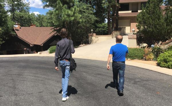 Democratic volunteers John Duncan (right) and Nathaniel Hauschild (left) canvass in Prescott, Ariz.
