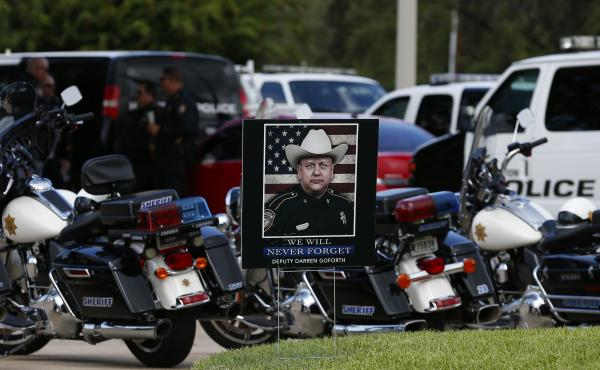 """The funeral for Harris County Sheriff Deputy Darren Goforth was held Sept. 4 in Houston. After Goforth was fatally shot at a gas station on Aug. 29, some spoke about a """"war on cops."""" But while 2014 did see more officer deaths than 2013, one expert says th"""
