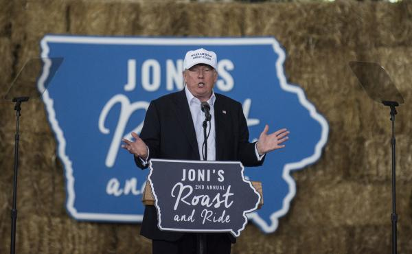 Donald Trump speaks during the Joni Ernst Roast and Ride event on Aug. 27 in Des Moines, Iowa.