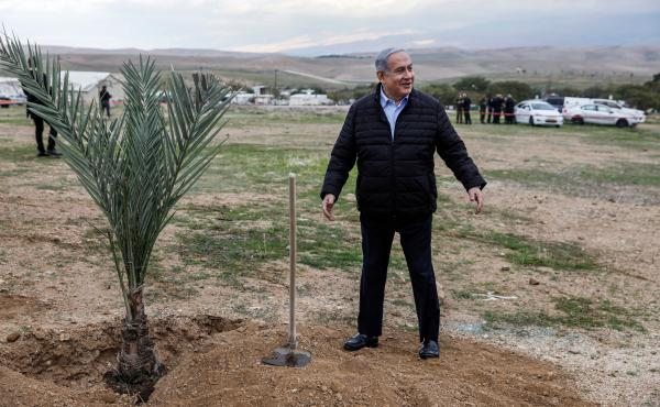 Israeli Prime Minister Benjamin Netanyahu plants a tree during a commemoration of the Jewish holiday of Tu BiShvat (New Year for Trees), in the Israeli settlement of Mevo'ot Yericho near the Palestinian city of Jericho in the Jordan Valley in the occupied