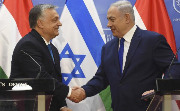 Hungarian Prime Minister Viktor Orbán shakes hands with Israeli Prime Minister Benjamin Netanyahu in July during a joint press conference in Jerusalem.