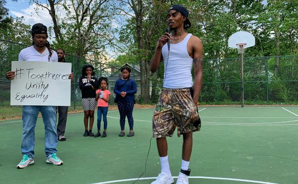 At a ballfield a few blocks from where Andrew Brown Jr. was killed by a sheriff's deputy in Elizabeth City, N.C., Daquail Alexander organized a vigil and protest in Brown's memory.