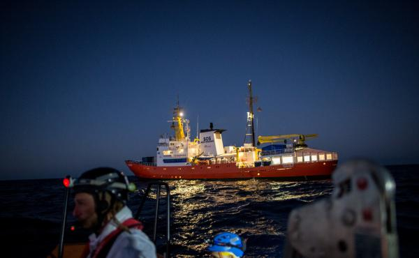 The Aquarius, a former North Atlantic fisheries protection ship now used by humanitarian groups SOS Mediterranee and Medecins Sans Frontieres (Doctors Without Borders), is seen in December 2017 during a rescue operation in the Mediterranean Sea. The rescu