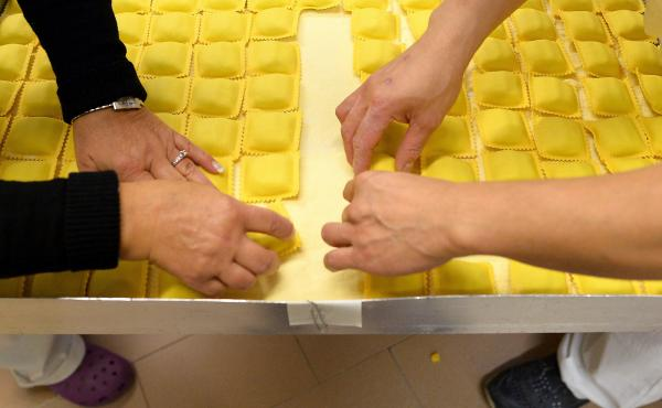 "Gluten is everywhere you look in Italy. Here, fresh ravioli at the historic shop ""Gatti & Antonelli"" in Rome in 2014."