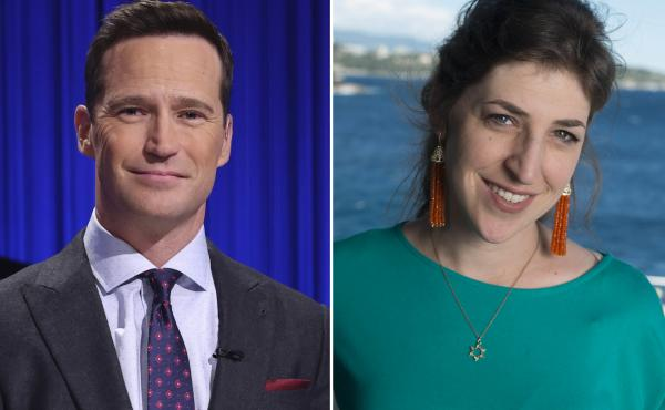 Mike Richards, left, and Mayim Bialik will co-host Jeopardy!