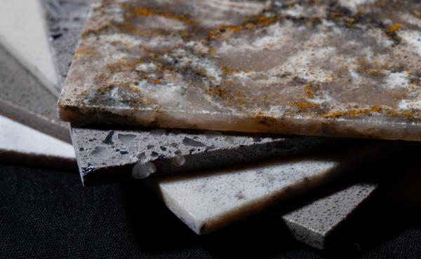 Samples of Silestone, a countertop material made of quartz. Cutting the material releases dangerous silica dust that can damage people's lungs if the exposure to the dust is not properly controlled.