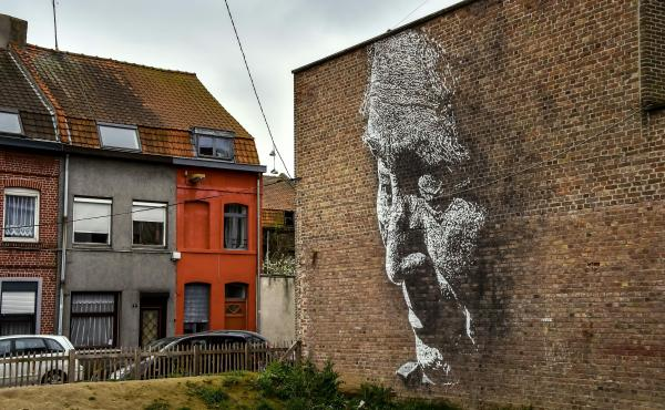 A Vhils work at La Condition Publique in Roubaix, in northern France, in March 2017.