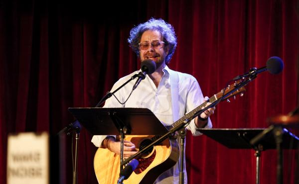 Jonathan Coulton leads the music game during Ask Me Another at the Bell House in Brooklyn, New York.
