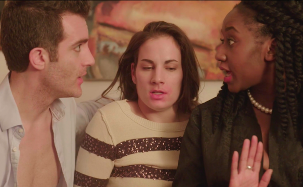 Laura Ramadei (center) as Annie, who gets involved with a different couple in every episode of the web series Unicornland.