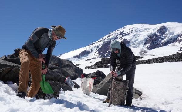 Though they're called ice worms, the creatures Hotaling (right) and his colleagues study on the glaciers of Mount Rainier can't handle the slightest bit of freezing. If temperatures dip even slightly below zero degrees Celsius (32 degrees Fahrenheit), Hot