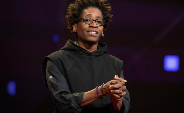 Jacqueline Woodson on the TED stage.