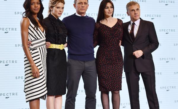 (From left) British actress Naomi Harris, French actress Lea Seydoux, British actor Daniel Craig, Italian actress Monica Bellucci and Austrian actor Christoph Waltz pose during an event to launch the 24th James Bond film, Spectre, at Pinewood Studios near