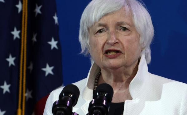 Janet Yellen addresses an event last month introducing the incoming Biden administration's economic team in Wilmington, Del. Yellen is the first woman to lead the Treasury Department.