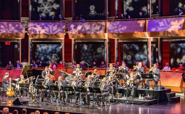 Wynton Marsalis' Big Band Holidays concert onstage at Jazz at Lincoln Center.