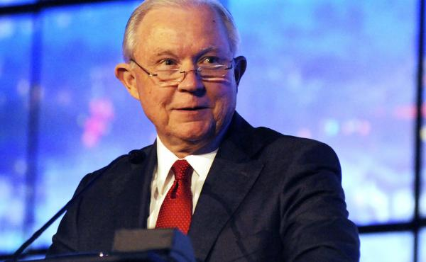 Former U.S. Attorney General Jeff Sessions addresses a business group in Montgomery, Ala., last year. Sessions announced Thursday that he will run to regain his old Senate seat.
