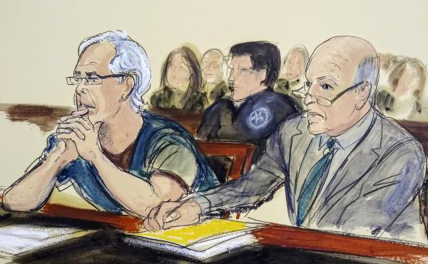 In this courtroom artist's sketch, defendant Jeffrey Epstein (left) and his attorney Martin Weinberg listen during a bail hearing Monday in federal court in New York. On Thursday, a judge said Epstein should remain in detention.