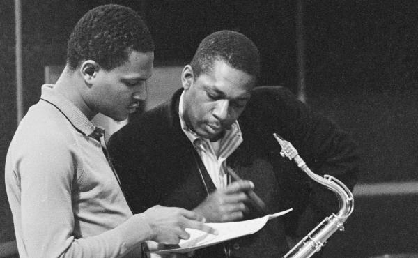 John Coltrane (right) with McCoy Tyner at New Jersey's Van Gelder studios in 1963, one day after the session that would become the newly unveiled Both Directions at Once.