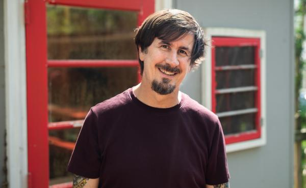 The Mountain Goats' John Darnielle at his home in Durham, N.C., where he wrote and recorded Songs for Pierre Chuvin in 10 days.