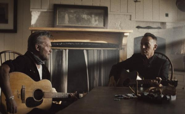 """John Mellencamp and Bruce Springsteen in the video for """"Wasted Days."""""""