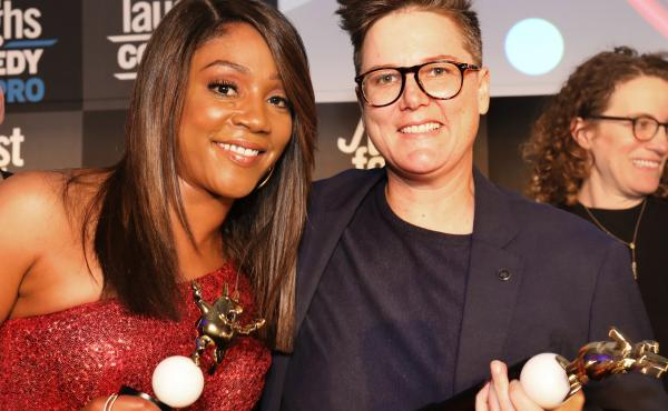 From left, Just For Laughs' new owner Howie Mandel, comedians Tiffany Haddish and Hannah Gadsby.